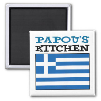 Papou's Kitchen With Flag Of Greece Magnet