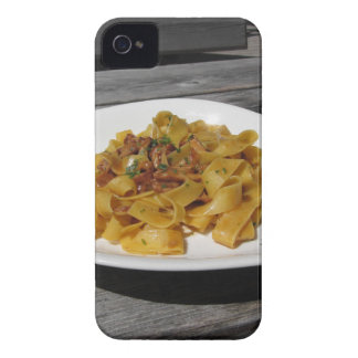 Pappardelle with mushrooms on rustic wooden table iPhone 4 cover