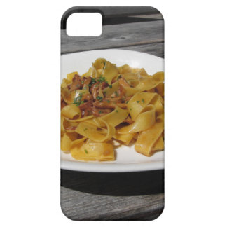 Pappardelle with mushrooms on rustic wooden table iPhone 5 cover
