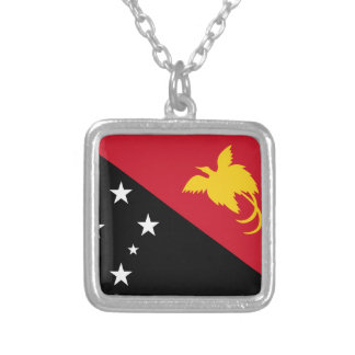 Papua New Guinea Flag Silver Plated Necklace