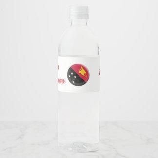 Papua New Guinea flag Water Bottle Label
