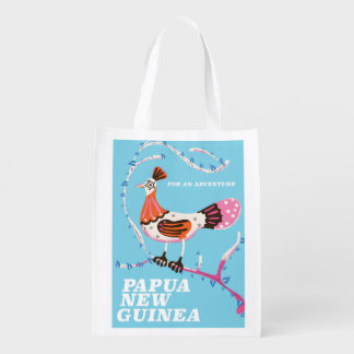 Papua New Guinea Travel poster Reusable Grocery Bag