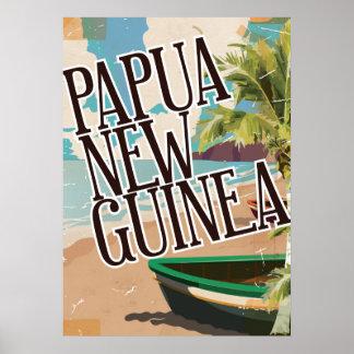 Papua New Guinea vintage travel poster art.