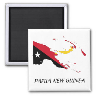 Papua NewGuine Flag Map Square Magnet