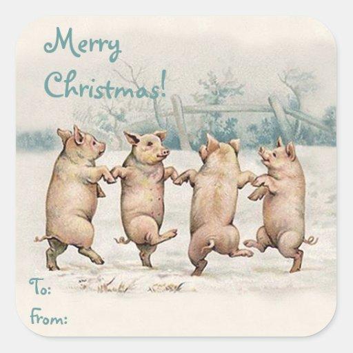 """Paquet drôle mignon de """"Joyeux Noël"""" de porcs de Sticker Carré"""