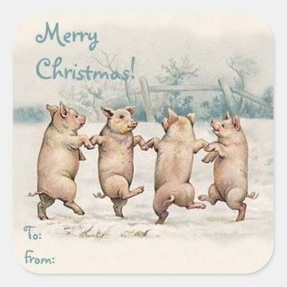 """Paquet drôle mignon de """"Joyeux Noël"""" de porcs de d Autocollants Carrés"""