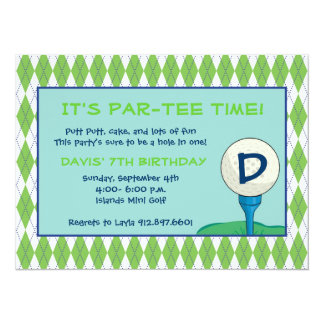 "Par-Tee Time Boy 5.5"" X 7.5"" Invitation Card"
