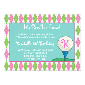 "Par-Tee Time Girl 5.5"" X 7.5"" Invitation Card"