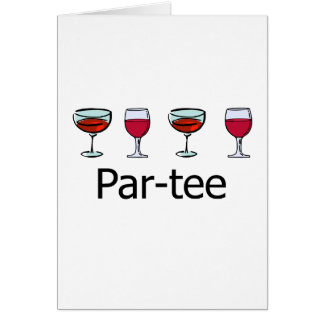 Par-tee  Wine Glass Party Card