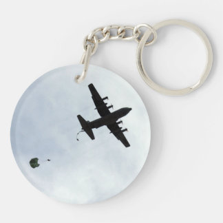 Parachute Drop EC-130H Compass Call Double-Sided Round Acrylic Keychain