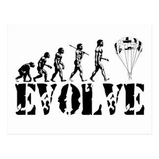Parachute Fun Sport Evolution Art Postcard