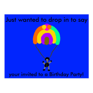 Parachute Post Card BD Invitation