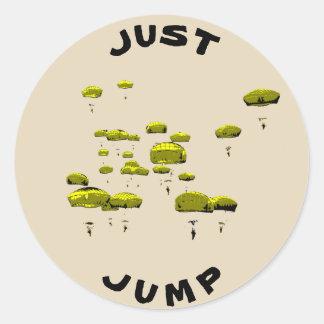 Parachuter Just Jump Classic Round Sticker