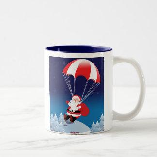 Parachuting Santa Two-Tone Coffee Mug