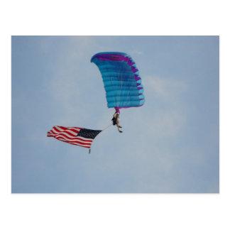 parachuting thew the clear blue sky postcard