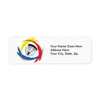 Parachuting Tricolor Emblem Return Address Label