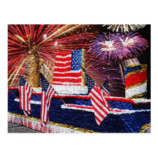 Parade with Statue of Liberty Float and Flag Postcard