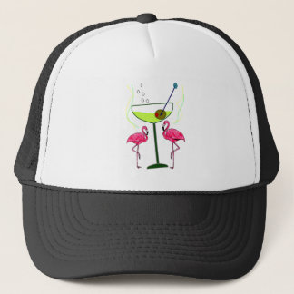 """Paradise Awakening""--Pink flamingo & Martini Trucker Hat"