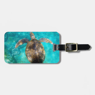 Paradise beach green sea turtle underwater luggage tag