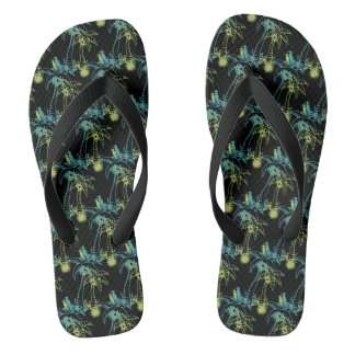 Paradise Beach Palm Tree Sun & Cranes Green Black Flip Flops