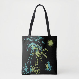 Paradise Beach Palm Tree Sun & Cranes Green Black Tote Bag
