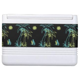 Paradise Beach Palm Tree Sun & Cranes Green Retro
