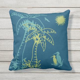Paradise Beach Palm Tree Sun & Cranes Green Teal Throw Pillow