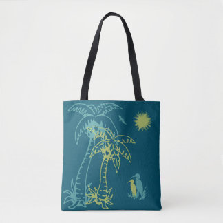 Paradise Beach Palm Tree Sun & Cranes Green Teal Tote Bag