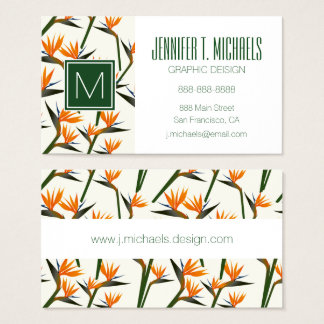 Paradise Bird Flower Pattern | Add Your Name Business Card
