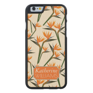 Paradise Bird Flower Pattern | Add Your Name Carved® Maple iPhone 6 Slim Case
