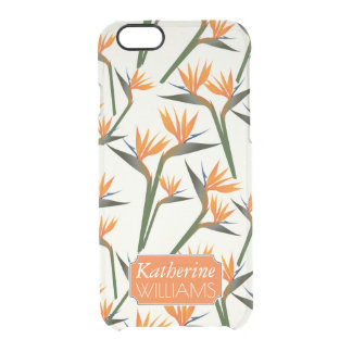 Paradise Bird Flower Pattern | Add Your Name Clear iPhone 6/6S Case