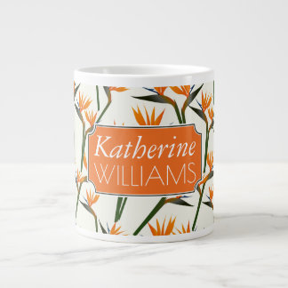 Paradise Bird Flower Pattern | Add Your Name Large Coffee Mug