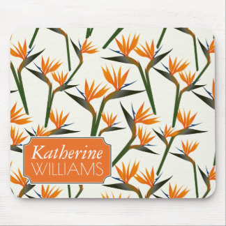 Paradise Bird Flower Pattern | Add Your Name Mouse Pad