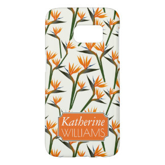Paradise Bird Flower Pattern | Add Your Name Samsung Galaxy S7 Case