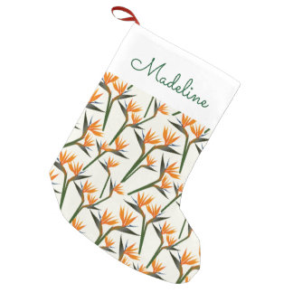 Paradise Bird Flower Pattern   Add Your Name Small Christmas Stocking