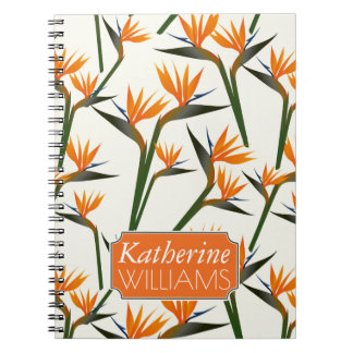 Paradise Bird Flower Pattern | Add Your Name Spiral Note Book