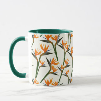 Paradise Bird Flower Pattern Mug