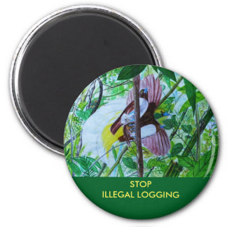 Paradise Birds in the Rainforest 2 Inch Round Magnet