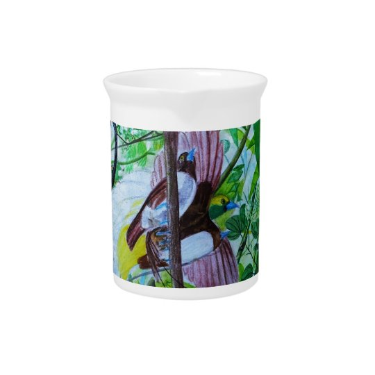 Paradise Birds in Watercolor Pitcher