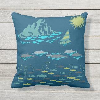 Paradise Dolphins Fish Windsurfer Sun Green Retro Outdoor Pillow