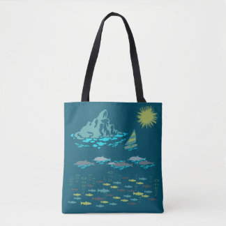 Paradise Dolphins Windsurfer Sun Green Retro Teal Tote Bag
