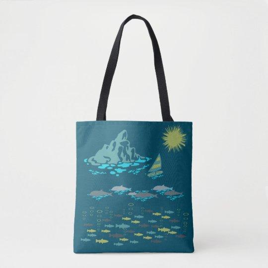 Paradise Dolphins Windsurfer Sun Green Retro Teal Tote Bag