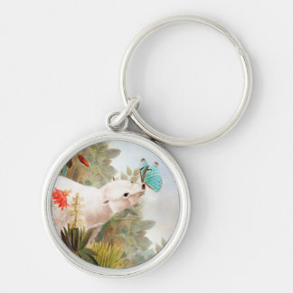 Paradise draws Silver-Colored round keychain