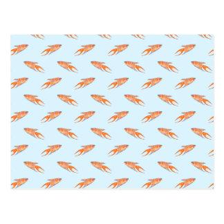 Paradise Fish Pattern on Blue. Postcard