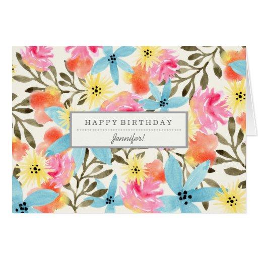 Paradise Flowers Custom Birthday Card
