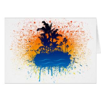 Paradise Graffiti Island - Paint Splatter Beach Card
