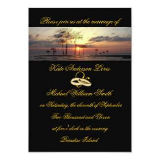 Paradise Island Sunset Wedding Rings Card