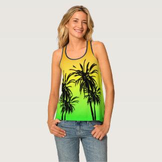 Paradise Island Tropical Palm Trees Sunset Retro Tank Top