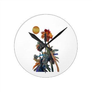 Paradise Palms Round Clock
