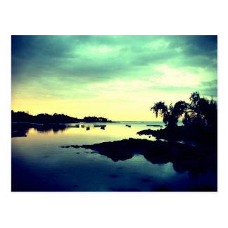 paradisiac island - by night postcard